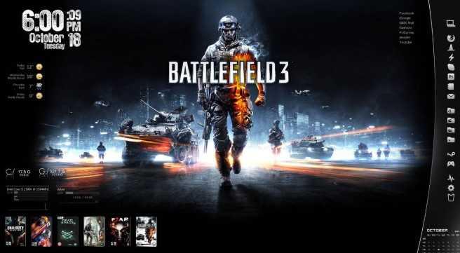 Top Rainmeter Themes for Windows 10 PC - Battlefield 3